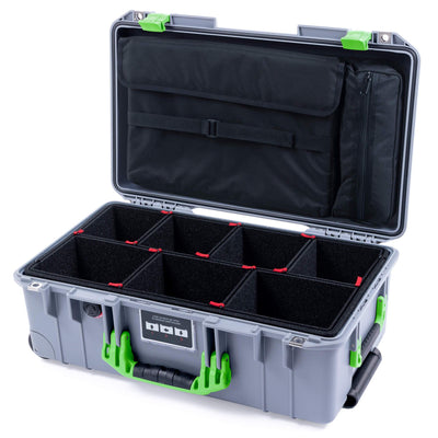 Pelican 1535 Air Case, Silver with Lime Green Handles & Latches