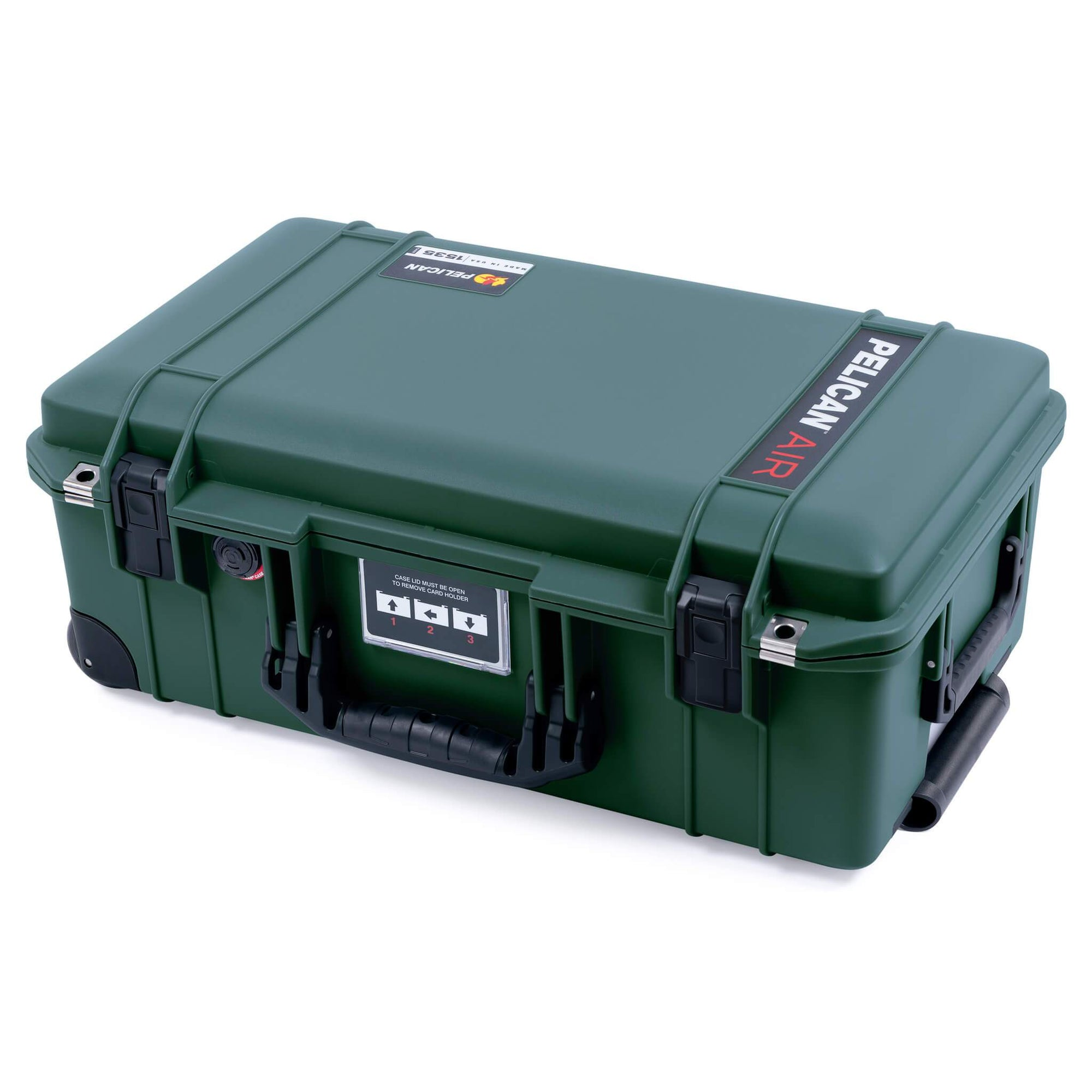 Pelican 1535 Air Case, Trekking Green with Black Handles, Push-Button Latches & Trolley
