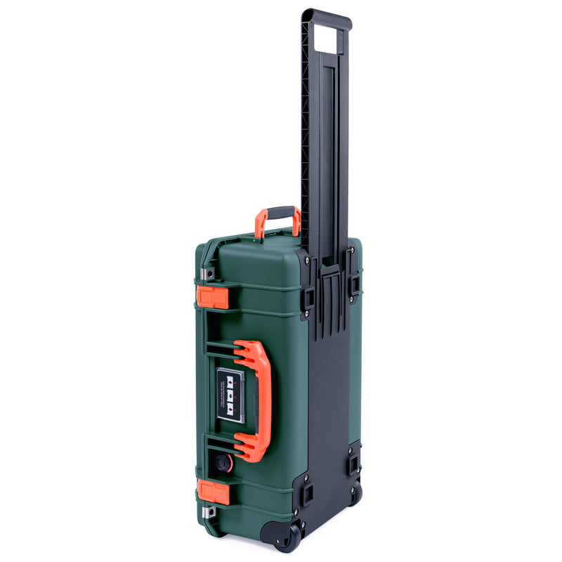 Pelican 1535 Air Case, Trekking Green with Orange Handles, Push-Button Latches & Trolley