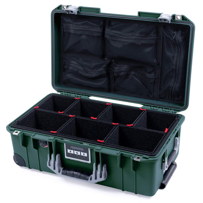 Pelican 1535 Air Case, Trekking Green with Silver Handles, Push-Button Latches & Trolley