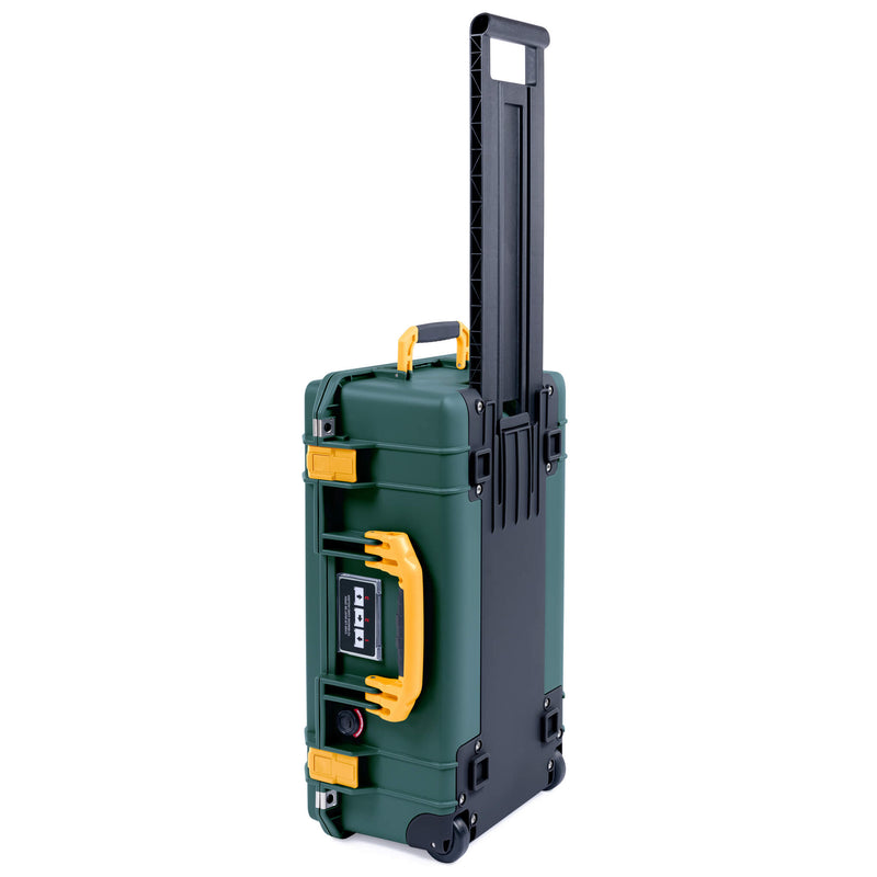Pelican 1535 Air Case, Trekking Green with Yellow Handles, Push-Button Latches & Trolley