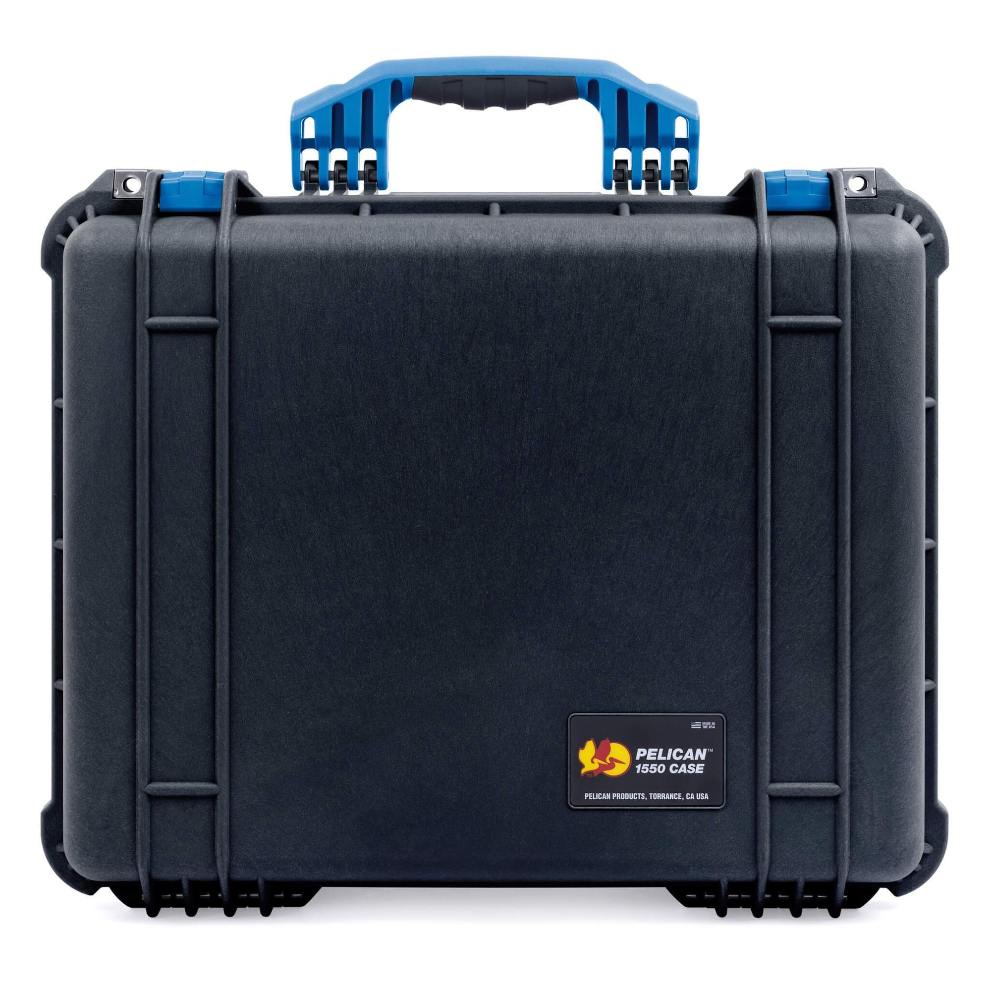 Pelican 1550 Case, Black with Blue Handle & Latches