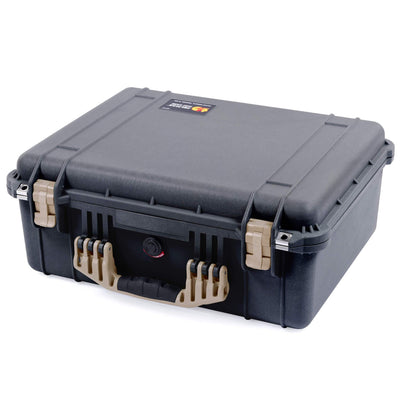 Pelican 1550 Case, Black with Desert Tan Handle & Latches