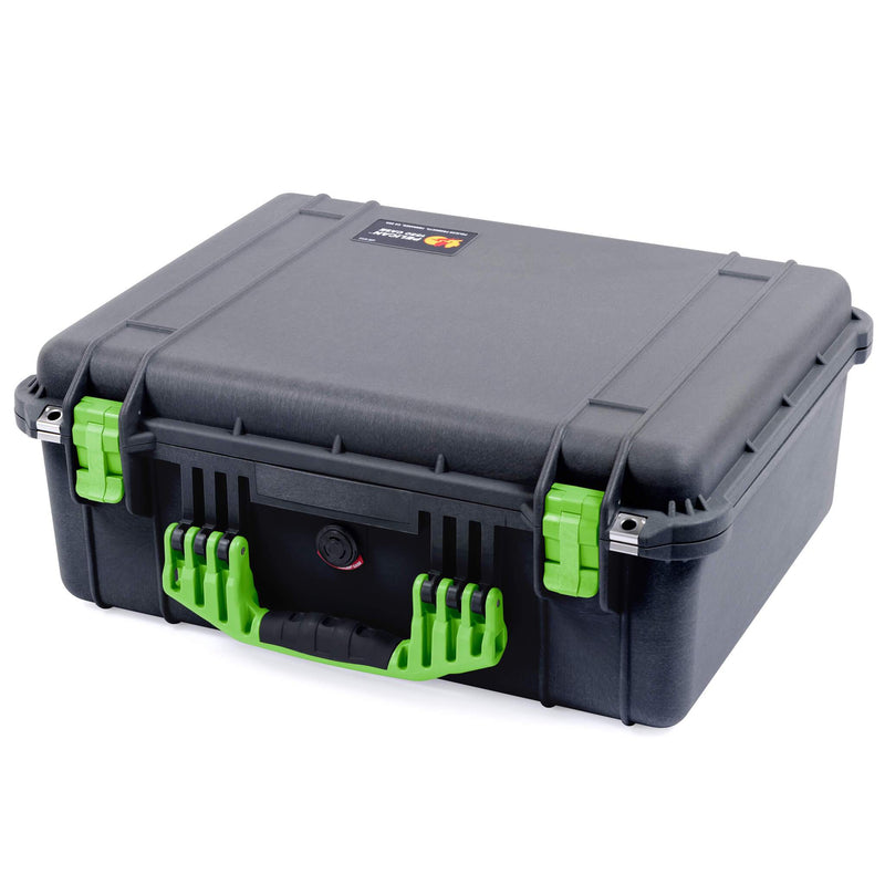 Pelican 1550 Case, Black with Lime Green Handle & Latches