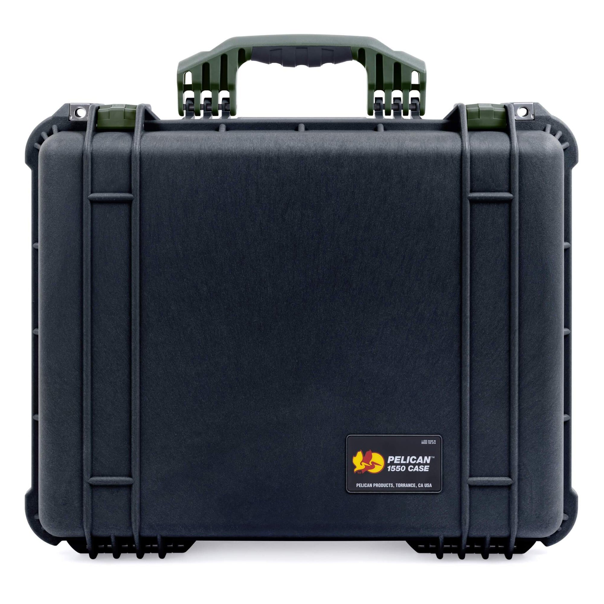 Pelican 1550 Case, Black with OD Green Handle & Latches