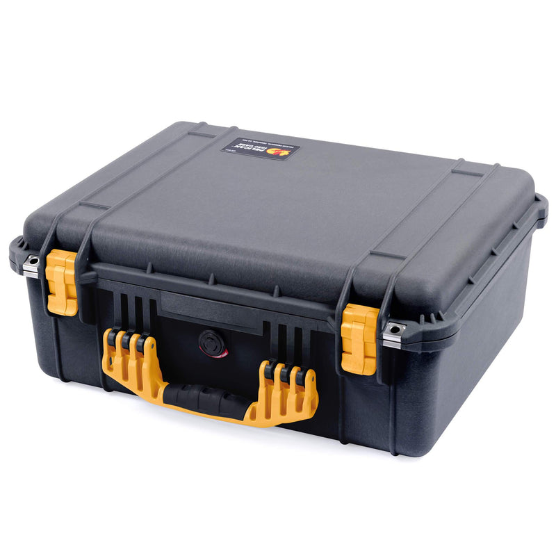 Pelican 1550 Case, Black with Yellow Handle & Latches
