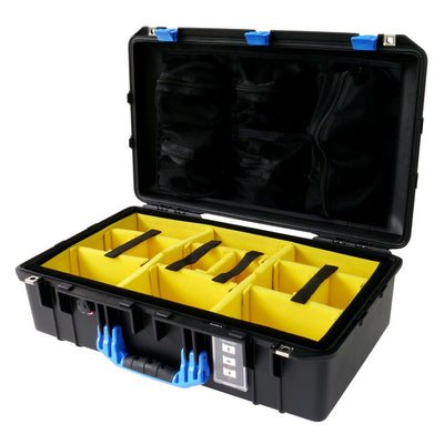 Pelican 1555 Air Case, Black with Blue Handle & Latches - Pelican Color Case