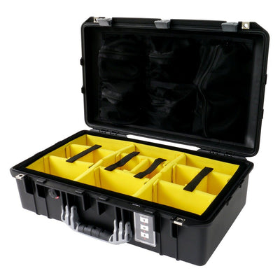 Pelican 1555 AIR COLORS Series, Black Protector Case with Silver Gray Handles & Latches, Customizable Accessory Bundles