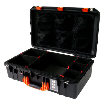 Pelican 1555 Air Case, Black with Orange Handle & Latches - Pelican Color Case