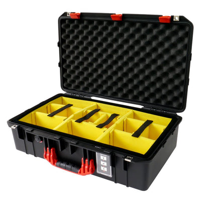 Pelican 1555 Air Case, Black with Red Handle & Latches - Pelican Color Case