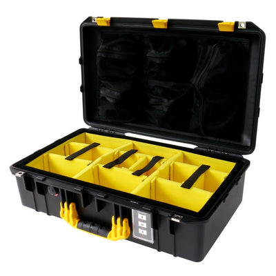 Pelican 1555 Air Case, Black with Yellow Handle & Latches - Pelican Color Case