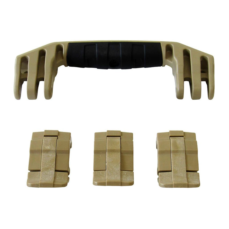 Desert Tan Replacement Handle & Latches for Pelican 1555 Air, One Desert Tan Handle, 3 Desert Tan Latches - Pelican Color Case