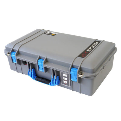 Pelican 1555 AIR COLORS Series, Silver Gray Protector Case with Blue Handles & Latches, Customizable Accessory Bundles