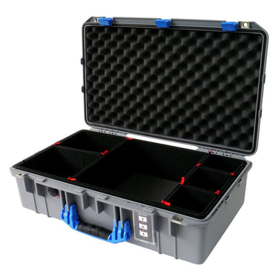 Pelican 1555 Air Case, Silver with Blue Handle & Latches - Pelican Color Case