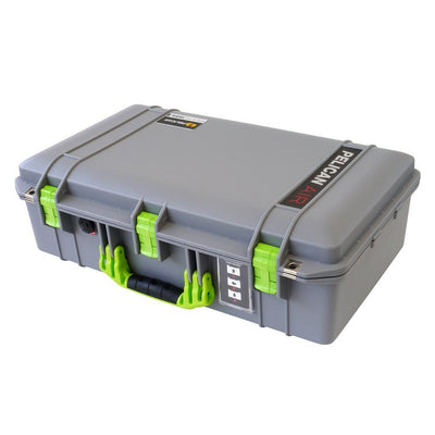 Pelican 1555 Air Case, Silver with Lime Green Handle & Latches - Pelican Color Case