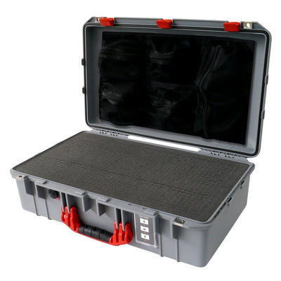 Pelican 1555 Air Colors Series, Silver Gray Air Case with Red Handles & Latches, Customizable Accessory Bundles - Pelican Color Case