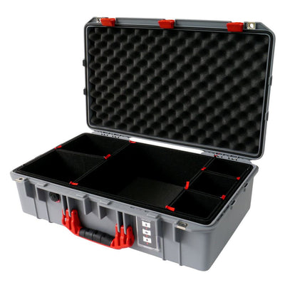 Pelican 1555 Air Case, Silver with Red Handle & Latches - Pelican Color Case