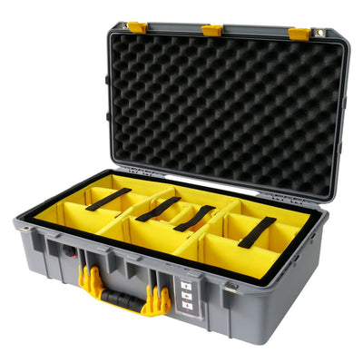 Pelican 1555 Air Case, Silver with Yellow Handle & Latches - Pelican Color Case
