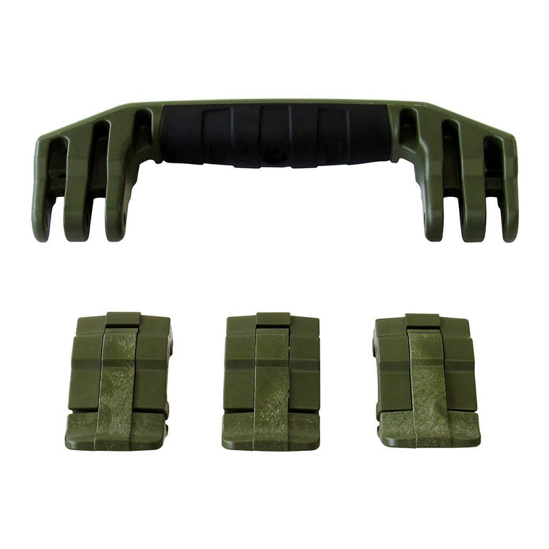 OD Green Replacement Handle & Latches for Pelican 1555 Air, One OD Green Handle, 3 OD Green Latches - Pelican Color Case
