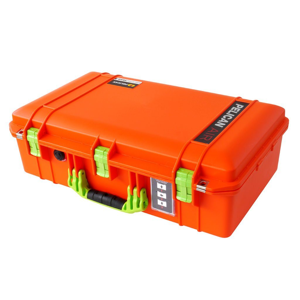 Pelican 1555 Air Colors Series, Orange Air Case with Lime Green Handles & Latches, Customizable Accessory Bundles