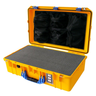 Pelican 1555 Air Colors Series, Yellow Air Case with Blue Handles & Latches, Customizable Accessory Bundles - Pelican Color Case