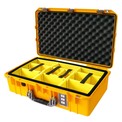 Pelican 1555 AIR COLORS Series, Yellow Protector Case with Silver Gray Handles & Latches, Customizable Accessory Bundles