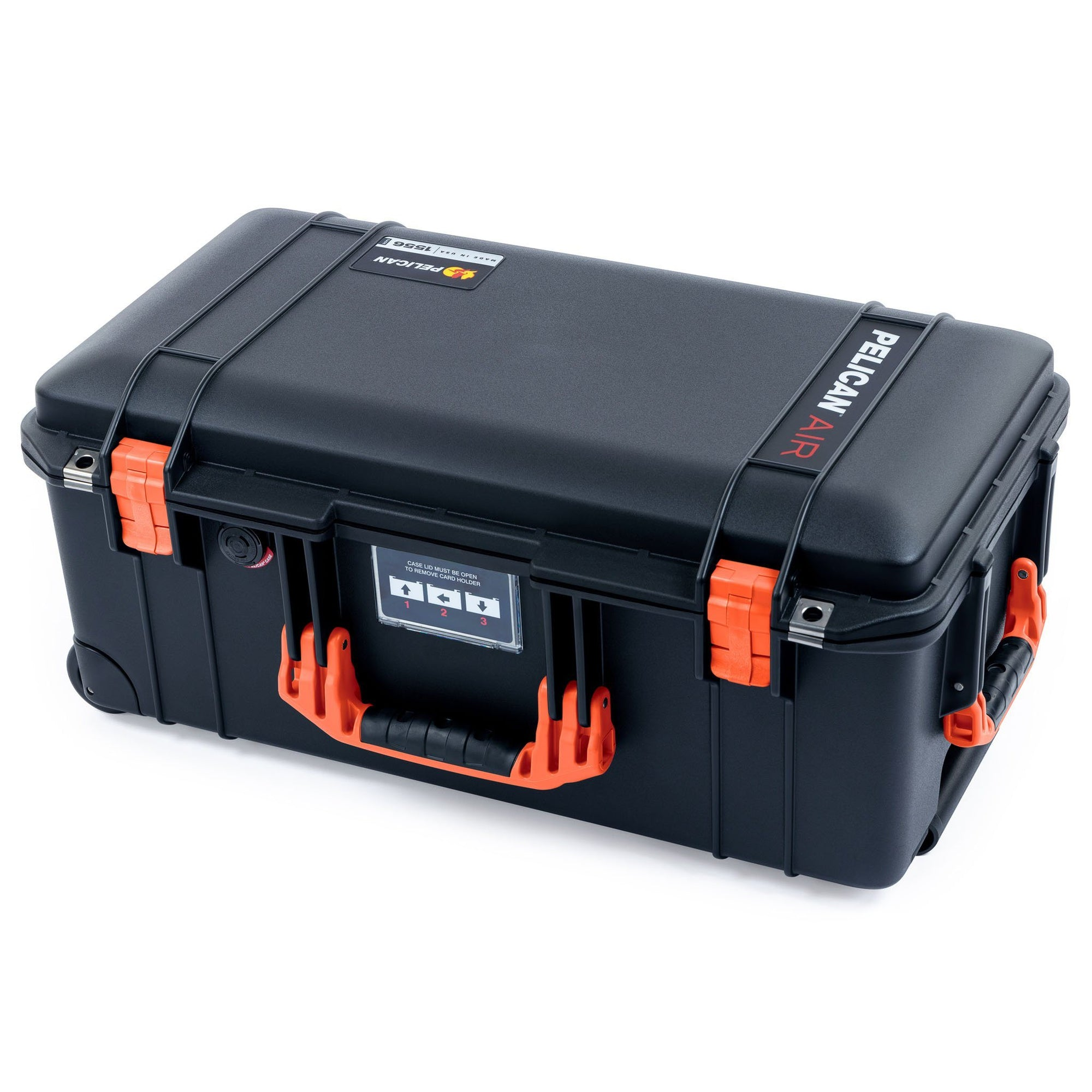 Pelican 1556 Air Case, Black with Orange Handles & Latches - Pelican Color Case