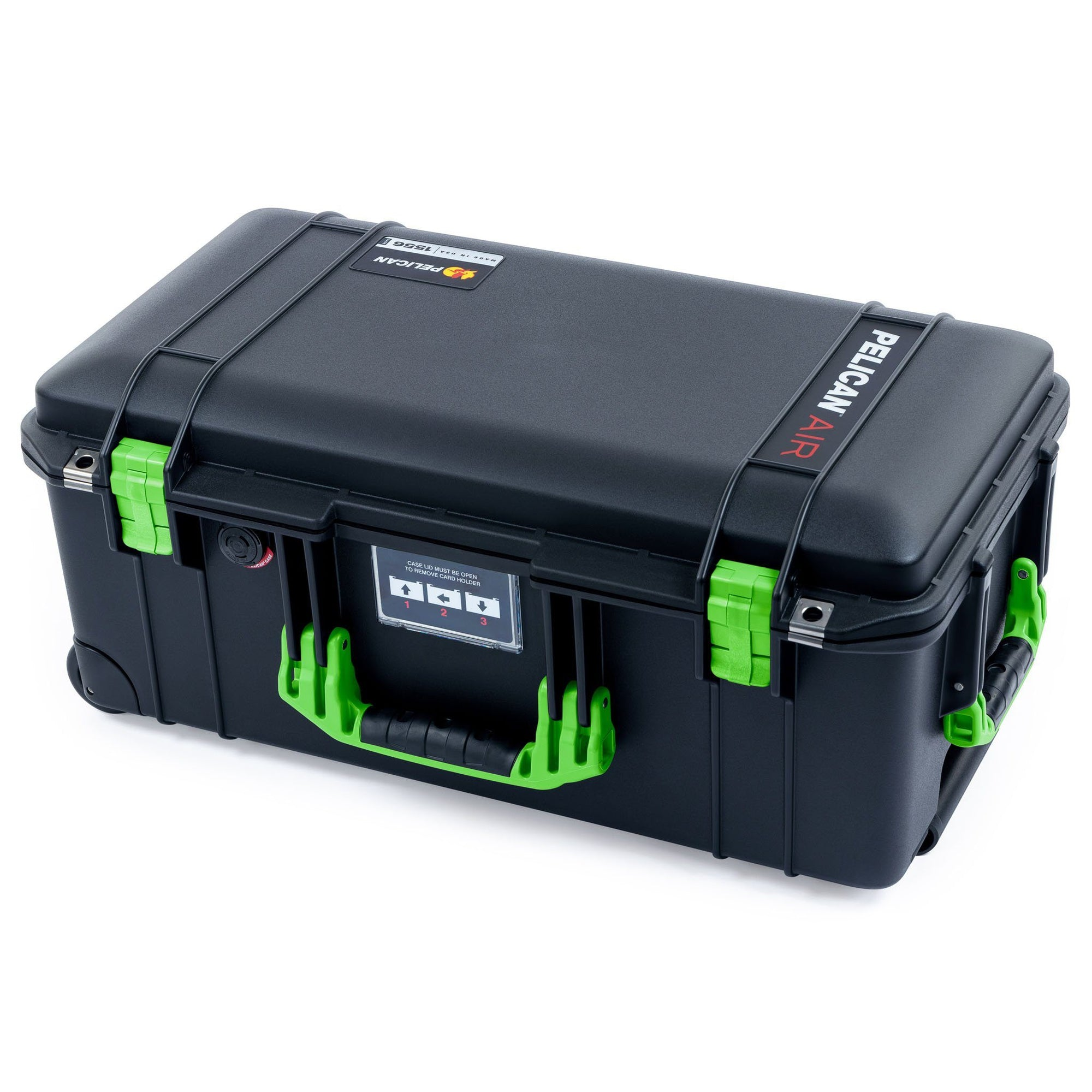 Pelican 1556 Air Case, Black with Lime Green Handles & Latches - Pelican Color Case