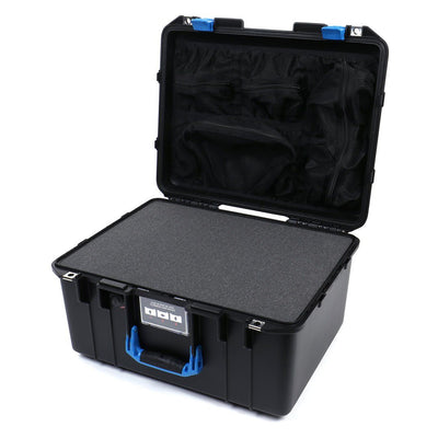 Pelican 1557 Air Case, Black with Blue Handle & Latches - Pelican Color Case