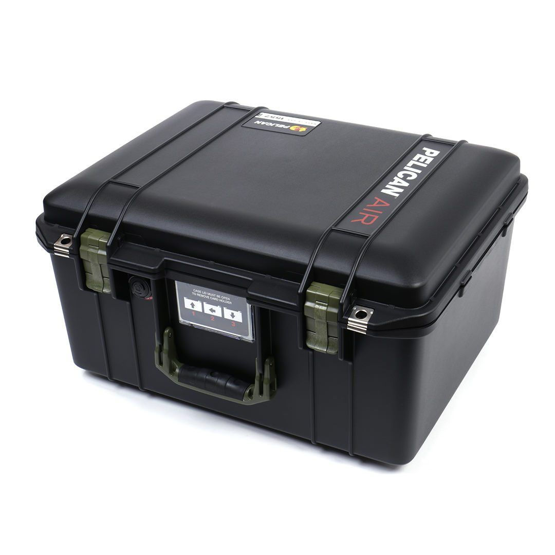 Pelican 1557 Air Case, Black with OD Green Handle & Latches - Pelican Color Case