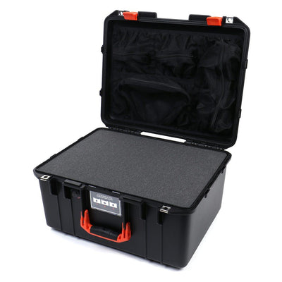 Pelican 1557 Air Case, Black with Orange Handle & Latches - Pelican Color Case