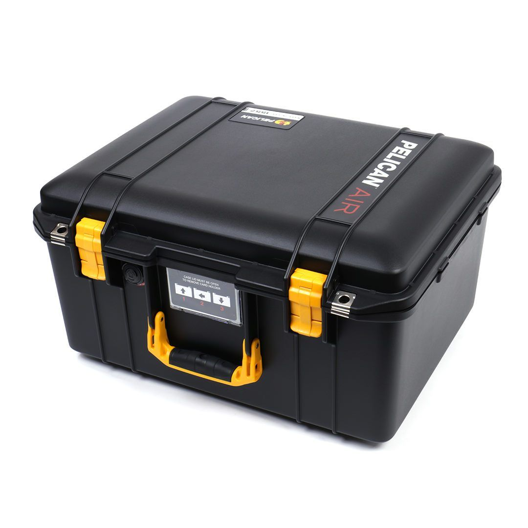 Pelican 1557 Air Case, Black with Yellow Handle & Latches - Pelican Color Case