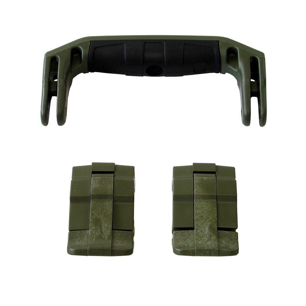 OD Green Replacement Handle & Latches for Pelican 1430 or 1557 Air, One OD Green Handle, 2 OD Green Latches - Pelican Color Case