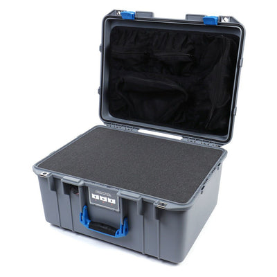 Pelican 1557 Air Case, Silver with Blue Handle & Latches - Pelican Color Case