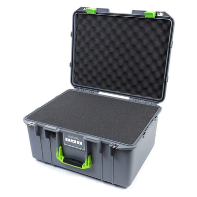 Pelican 1557 Air Case, Silver with Lime Green Handle & Latches - Pelican Color Case