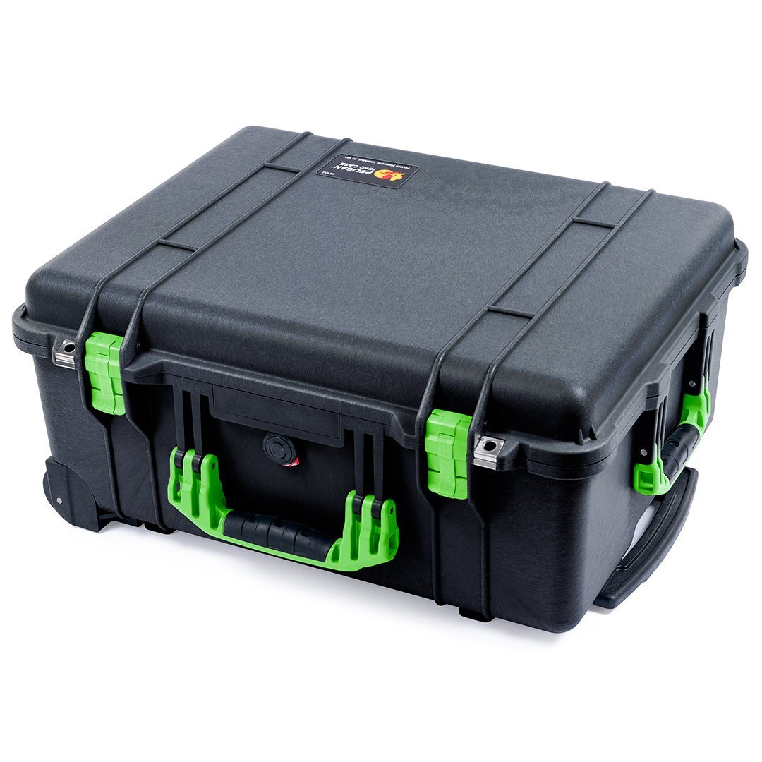 Pelican 1560 Case, Black with Lime Green Handles & Latches