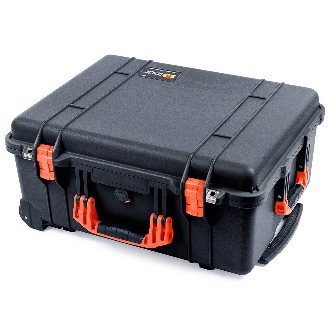 Pelican 1560 Case, Black with Orange Handles & Latches