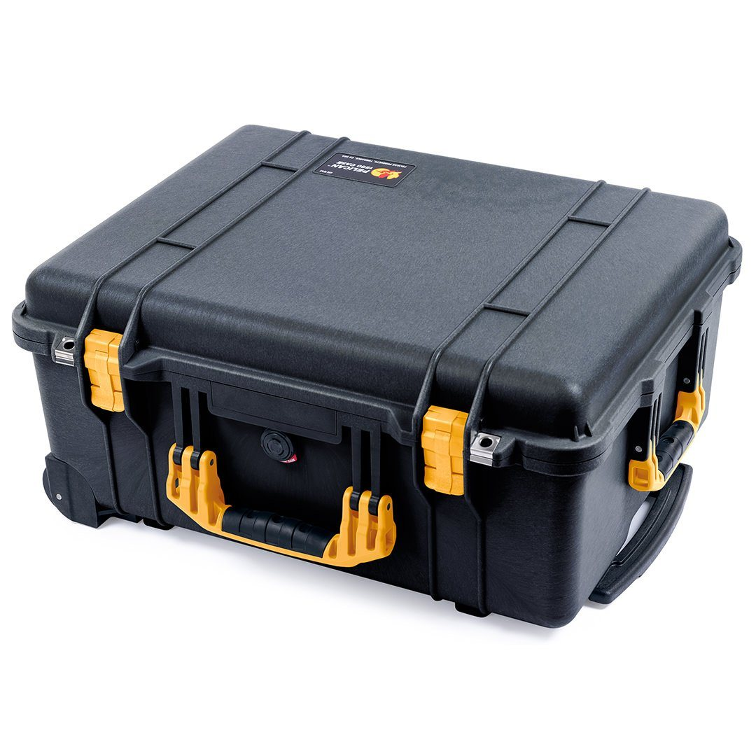 Pelican 1560 Case, Black with Yellow Handles & Latches - Pelican Color Case