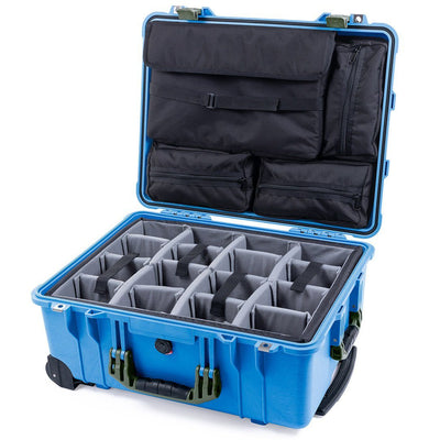 Pelican 1560 Case, Blue with OD Green Handles & Latches