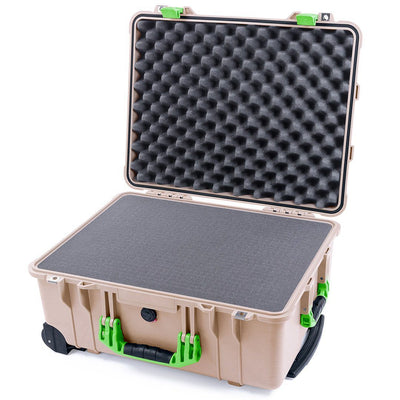Pelican 1560 Case, Desert Tan with Lime Green Handles & Latches - Pelican Color Case
