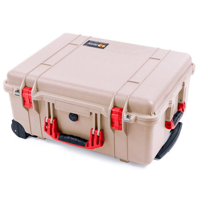 Pelican 1560 Case, Desert Tan with Red Handles & Latches - Pelican Color Case