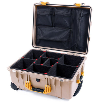 Pelican 1560 Case, Desert Tan with Yellow Handles & Latches - Pelican Color Case