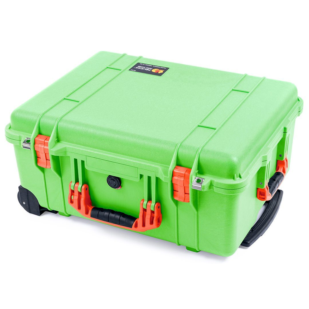 Pelican 1560 Case, Lime Green with Orange Handles & Latches