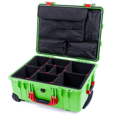 Pelican 1560 Case, Lime Green with Red Handles & Latches - Pelican Color Case