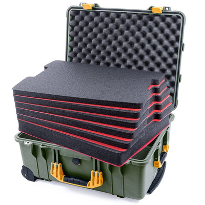 Pelican 1560 Case, OD Green with Yellow Handles & Latches