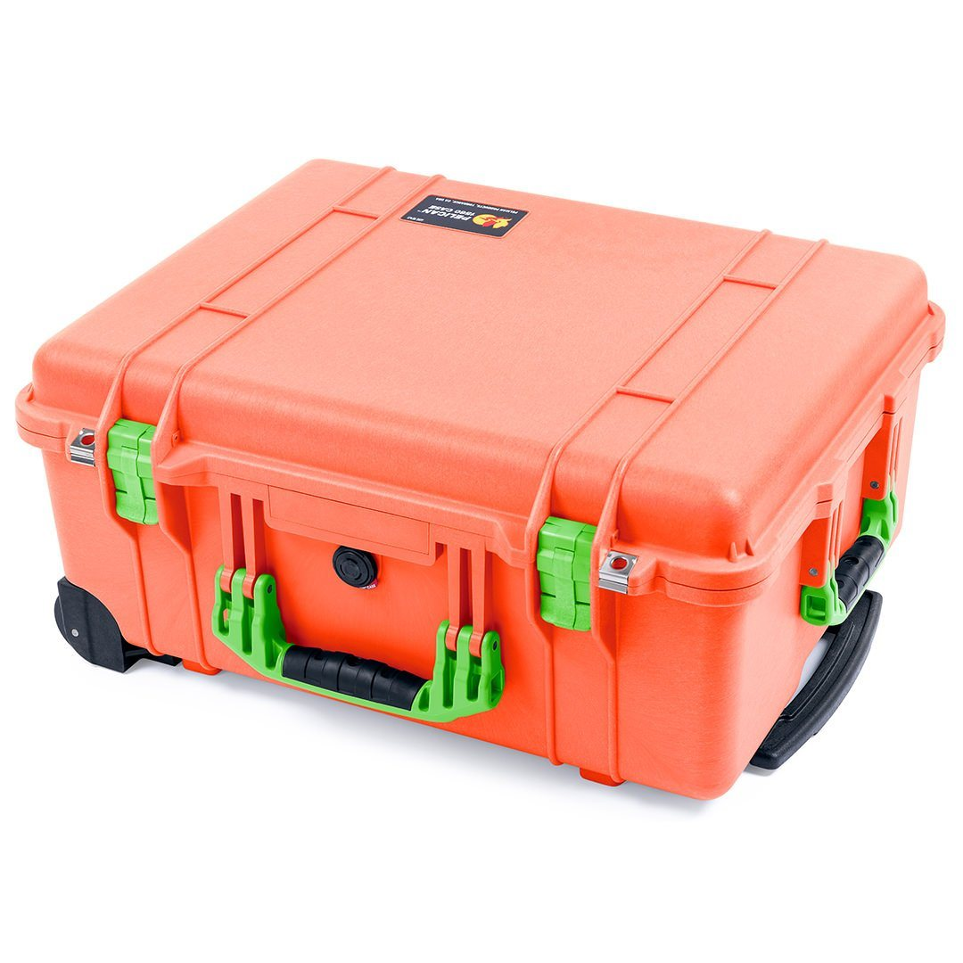Pelican 1560 Case, Orange with Lime Green Handles & Latches - Pelican Color Case