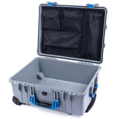 Pelican 1560 Case, Silver with Blue Handles & Latches - Pelican Color Case