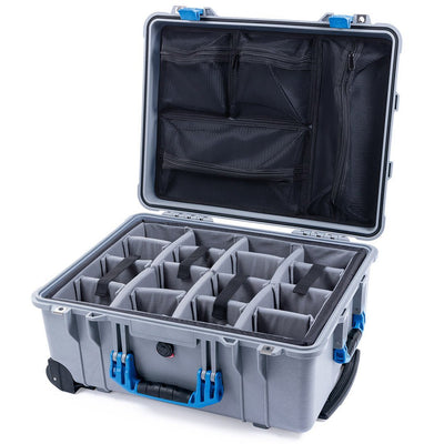 Pelican 1560 Case, Silver with Blue Handles & Latches