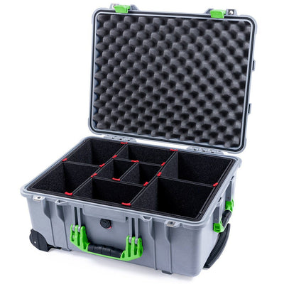 Pelican 1560 Case, Silver with Lime Green Handles & Latches - Pelican Color Case