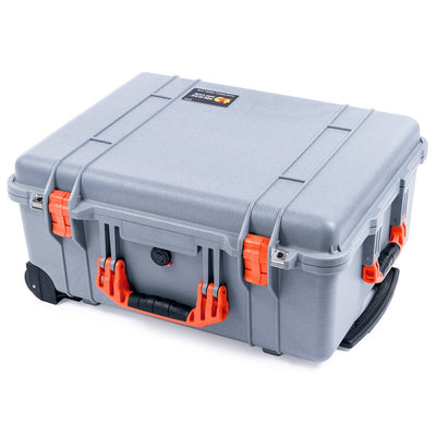 Pelican 1560 Case, Silver with Orange Handles & Latches